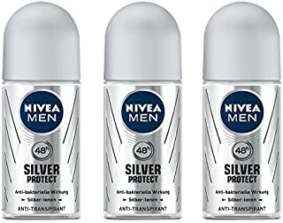 Nivea for Men Deodorant Roll On 1.69 oz (Silver Protect) (Set of 3)