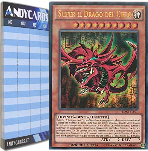 Andycards Yu-Gi-Oh! - SLIFER Il Drago del Cielo - Ultra Rara LDK2-ITS01 in Italiano + Segnapunti
