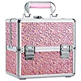 Costravio Portable Makeup Train Case for Lady Travel Beauty Cosmetic Box with 4 Trays Lockable Pink Handle Jewelry Storage Organizer for Women and Girls - Holographic Pink