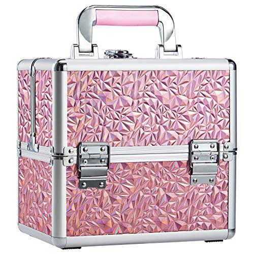 Mallette Maquillage Professionnel Coffret Mallette Rangement Maquillage Aluminium Boîte de Cosmétique Organisateur à Maquillage Vanité Beauty Case à Onglerie (Rose-1)