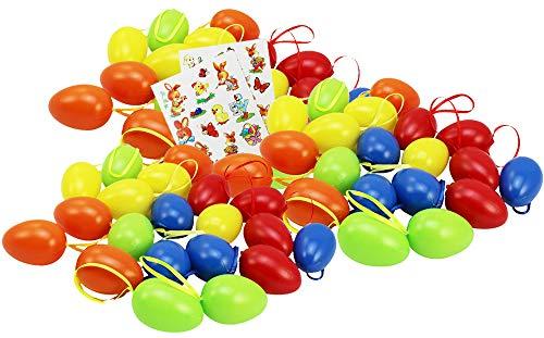COM-FOUR® 60 œufs de Pâques en 5 couleurs différentes + ainsi que 23 images auto-adhésives avec motif Pâques, ensemble œufs de Pâques (60 pièces - coloré / 6cm)