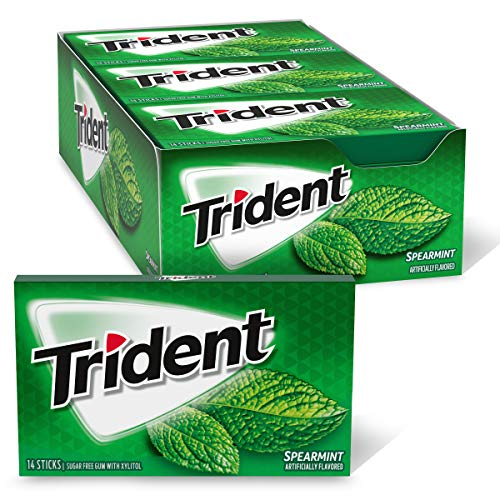 Trident Spearmint Sugar Free Gum, 12 Packs of 14 Pieces (168 Total Pieces)