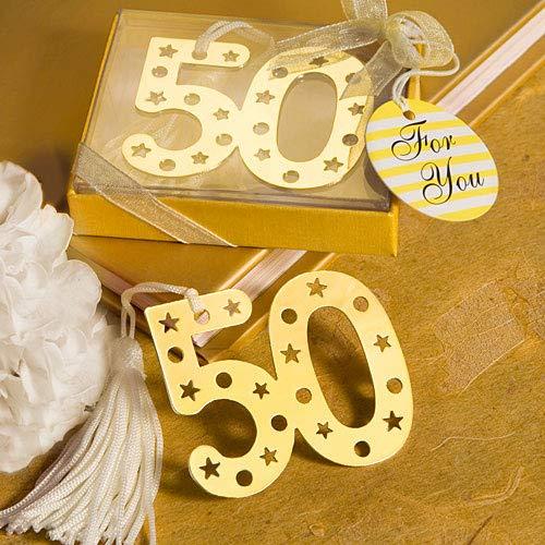 Lote de 20 Elegantes Puntos de Libro 50º Aniversario - Detalles baratos para bodas de oro. Regalos originales de bodas 50º aniversario