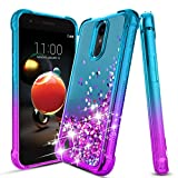 ForDesign Compatible with Aristo 2 Case, Tribute Dynasty Case, Aristo 3 Case, Rebel 4/ Phoenix 4/ Aristo 3 Plus/Rebel 3 Glitter Quicksand Case wTempered Glass Screen Protector-Teal/Purple