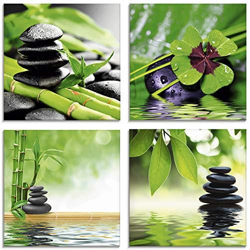 Artland Glasbilder Wandbild Glas Bild Set 4 teilig je 20x20 cm Quadratisch Asien Wellness Zen Steine Kleeblatt Pyramide Wasser Enstpannung S6MG