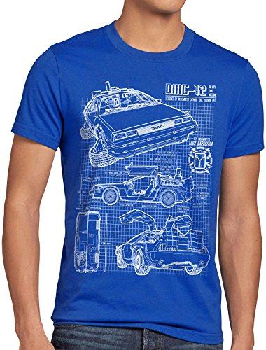 style3 DMC-12 Blaupause T-Shirt Herren Zeitreise 80er McFly Blueprint Auto Car, Größe:XL, Farbe:Blau
