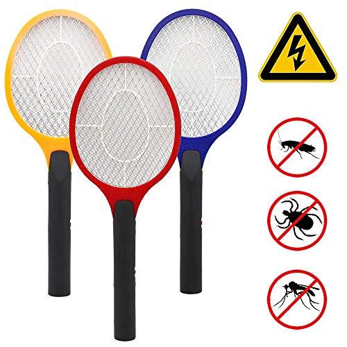 Vingo 3 Stück Elektrische Fliegenklatsche Doppelte Schichten Mesh Schutz Insektenvernichter EXTRA STARK für Mücken Fliegen Camping
