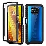 Seacosmo Kompatibel mit Xiaomi Poco X3 NFC Hülle, Stoßfest Cover 360 Grad vollschutz Handyhülle Rugged Schutzhülle Xiaomi Poco X3 Pro mit eingebautem Bildschirmschutz, Schwarz