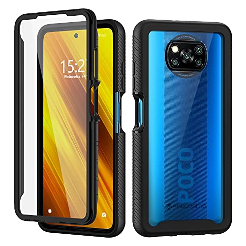 seacosmo Funda para Xiaomi Poco X3 Pro/Poco X3 NFC con Protector Pantalla Incorpolada [360° Anti-Golpes, Arañazos y Polvo] Xiaomi Poco X3 Pro Funda de PC Rigida Transparente [Anti-Amarilleo]- Negro