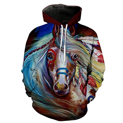 3D Hoodies Men Horse Colorful Paint Long Sleeve Loose Streetwear Pullovers Top Gray 4XL