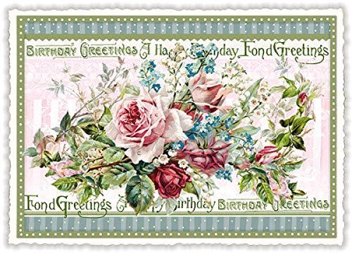 Nostalgische Glückwunschkarte Postkarte mit Glitzer * Rosen * Happy Birthday