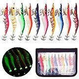 BeeViuc 10 Pezzi Colori Assortiti Artificiali Esche da Pesca Calamari, Polipi, Seppia, Gambero, Confezionate in Legno, con Amo Esche da Calamaro Kit