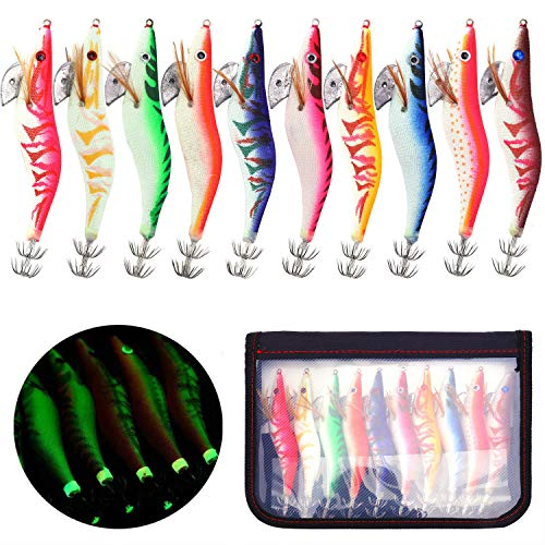 BeeViuc10 Piezas Luminoso Cebo de Calamar Pesca Camarones Señuelo para Sepia Pulpo