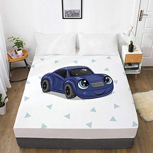 lhmlyl Double Bed Sheet Digital Home Textile 3D360 Degree Li Mattress Protective Cover Cartoon Car-Cartoon Car 074-White-F_152X203X40Cm