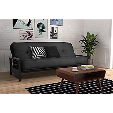 DHP 8-inch Independently Encased Coil Futon Mattress with CertiPUR-US certified foam, Full Size, Grey