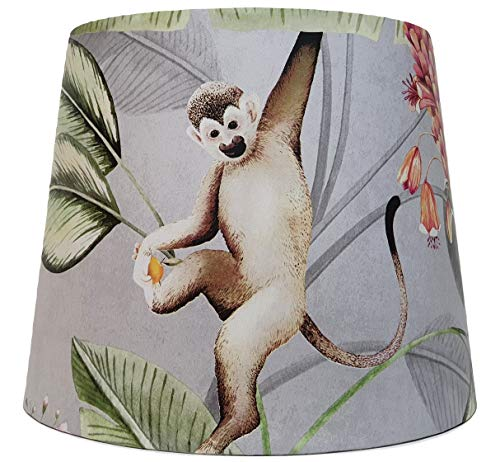 Jungle Animals Lampshade Ceiling Light Shade Tropical Botanical Monkey Bedroom Accessories Gifts Animal Garden Grey (Table Lamp Base Fitting)
