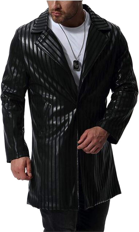 - - - Jotebriyo Men Stripe Print Plus Size Lapel Mid Length Faux Leather Jacket Coat Trench Overcoat 595232