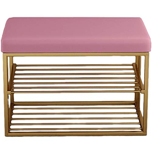Nordic Creative Entryway Shoe Rack Double Layer,Replacement Shoe Stool with Soft Cushions,Shoe Rack for Home Use,Multifunctional Shelf (Color:Pink,Size:60 * 35 * 45cm)