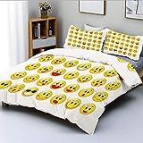 Juego de funda nórdica, divertidas cabezas amarillas, varias expresiones faciales, formas redondas, feliz, triste, riendo, decorativo, juego de cama de 3 piezas con 2 fundas de almohada, amarillo, roj