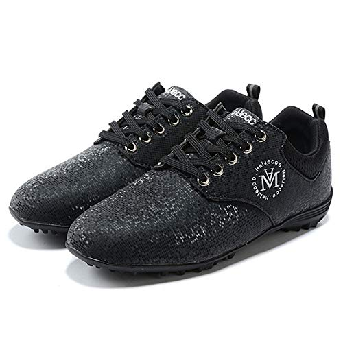 XFQ Zapatos del Golf De Las Mujeres, Ocasionales Spikeless Campo De Formadores Impermeable Y Transpirable Antideslizante Zapatillas De Deporte De La Aptitud,Negro,39EU