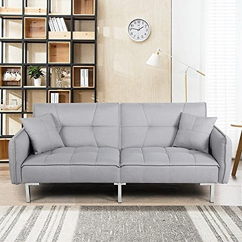 Kosoree Living Room Chairs Sofa Bed Grey Sofa 3 Seater Fabric Sofa Bed Recliner Settee Couch Furniture