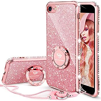 OCYCLONE iPhone SE 2020 Case iPhone 7 Case iPhone 8 Case Cute Glitter Bling Diamond Rhinestone Bumper with Ring Kickstand Women Girls Pink Soft Phone Case for 4.7 inch iPhone SE 2nd/8/7 Rose Gold