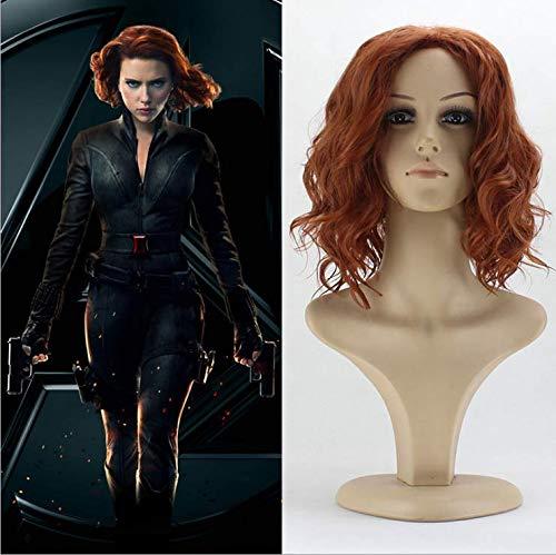 Party Queen Perruque synthétique pour cosplay Black Widow Natasha Romanoff Avengers Cheveux courts châtains et bouclés Costume pour femme
