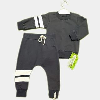 Minimalist Lined Çizgili Antrasit Rengi Bebek Takım