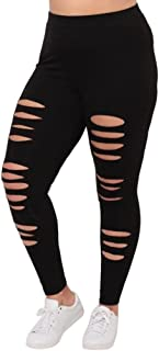 Mikey Store Womens Hole Pants Yoga Sport Leggings Plus Size Workout Fitness Trousers