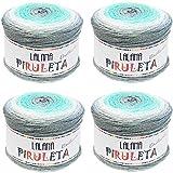 Hilo de Acrilico y lurex Ovillo de Lana para Tejer Crochet Ganchillo o Punto Torrijo PIRULETA 150g (4 unidad *150g)   MULTICOLOR 2644