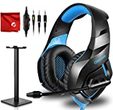 ONIKUMA K1-B Pro Blue Over-Ear Surround Sound Noise Cancelling Gaming Headset Microphone Bundle with Headphone Stand for PC, Xbox One, PS4, Nintendo Switch, Mac, Desktop, Laptop, Computer