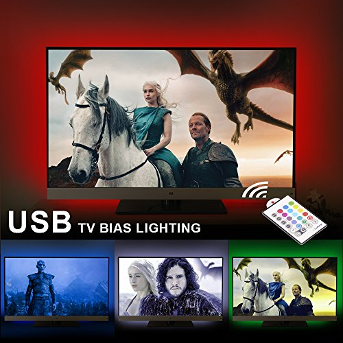 """AirienX Dimmable USB LED TV Backlight Multi Color Bias Lighting Strip for 60 to 75 Inch HDTV RGB LED Strip Lights for Back of TV Lighting Home Movie Theater Mood Decor with Remote Control (60""""-75"""")"""