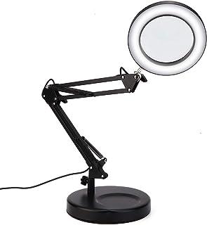 Lámpara de lupa de escritorio USB Tatuaje Lámpara de lupa plegable de 5X Lámpara led con base Flex Lámpara de lupa Abrazad...
