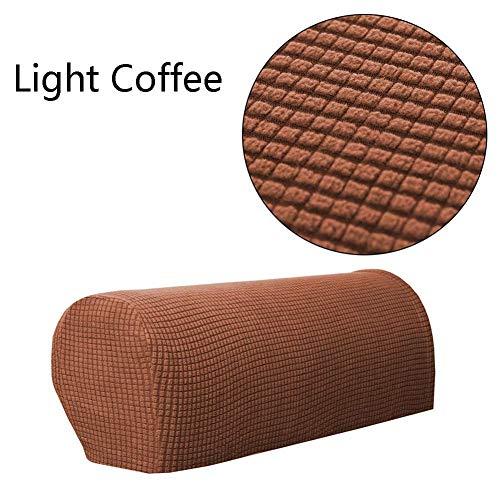 Damen Sofa-Armlehnenschoner, rutschfest, Fleece, Premium-Armlehnenbezug, dehnbar, für Sessel, Sofa, Couch und Armlehnen, Stretch, für Sessel, Sofas (2 Stück) helles kaffebraun
