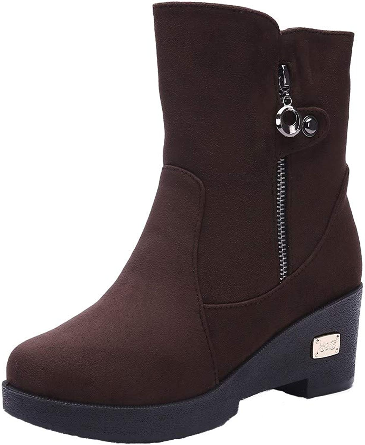 JESPER Women's Spring Wedge Soft Snow Ankle Boots Breathable Side Zipper Warm Boots
