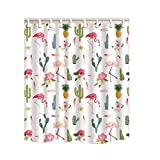 BANGSUN Cortina de ducha con diseño de flores tropicales, diseño de flamenco,...