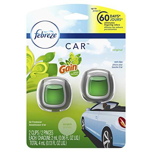 Febreze Car Odor-Eliminating Air Freshener Vent Clip, Gain Original, 2 count