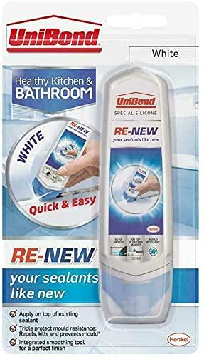 UniBond - Sellador de silicona blanca resistente al agua, fácil sellante para cocina, baño, ducha de inodoro