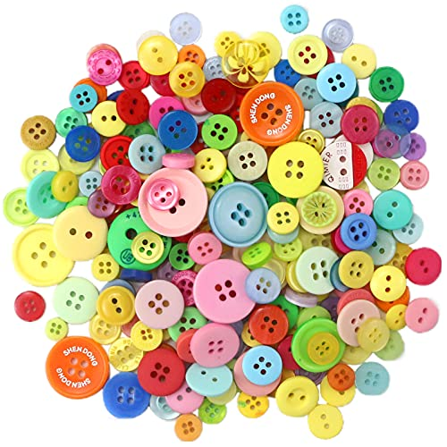 Oomcu 600-800 Pcs Assorted Color Sizes Resin Sewing Buttons Round Mixed Color Craft Buttons for DIY, Button Paiting, Sewing, Handmade Ornament