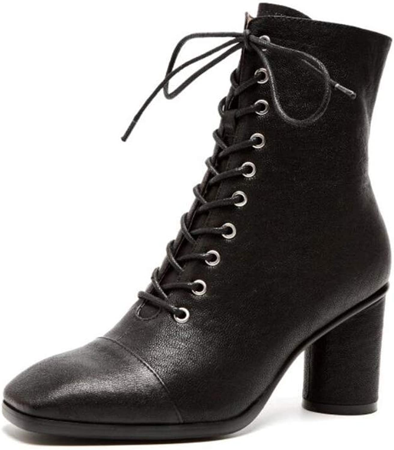 Small Boots Women's Martin Boots Women's Wild Thick High-Heeled Short Leather Ankle Boots