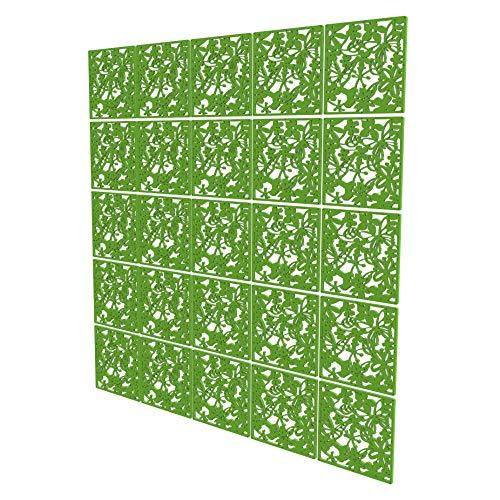 Biombos Separadores Grandes de 25 Piezas - 202x202cm - Verde Biombos para Oficinas Pétalo Divisor De Habitaciones para Cocina, Despensa, Escritorio, Estantería, Armario