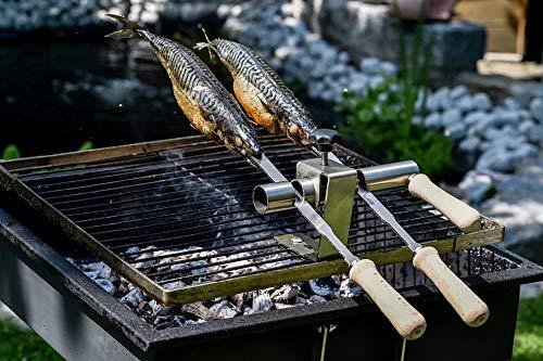 Steckerlfisch Staberlfisch Stangerlfisch Grillaufsatz für 2 Fische