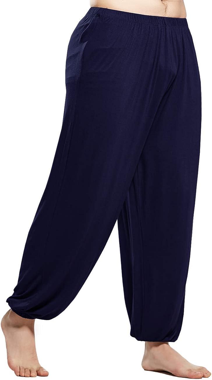 MIZOK Men's Ultra Soft Modal Pants Pilates Elastic Waist shipfree Yoga At the price Co