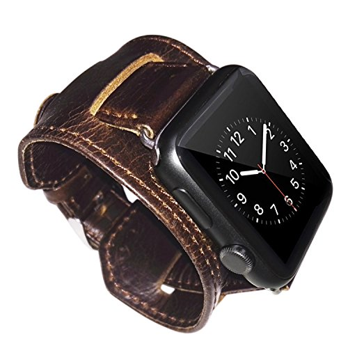 Apple Watch Band,Mactop iwatch Band Apple Watch Genuine Leather Band,Leather Band Cuff Bracelet Wrist Watch Band with Adapter for Apple watch(42mm Dark Brown)