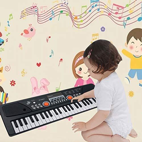 Kinder Klavier, Multifunktions Mini 49 Tasten Musik Klaviertastatur Tragbare Wiederaufladbare Elektronische Musikinstrument Mikrofon für Baby Kinder