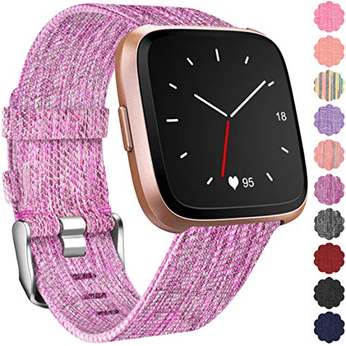 Maledan Replacement Bands for Fitbit Versa, Breathable Woven Fabric Accessories Strap Watch Band for Fitbit Versa Fitness Smartwatch, Small, Rose Pattern