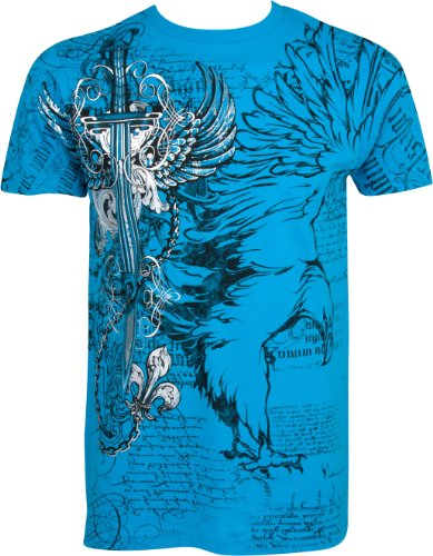 Eagle,Swoderd and Chains T-Shirt für Männer- Türkis/X-Large