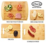 bamfitwell Bamboo Cutting Board with Juice Groove(4-Piece Set) -Best Kitchen Chopping Board for Chopping Meat, Vegetables, Fruits, Cheese