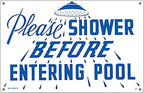 """Poolmaster 41384 Rules for Public Spa Schild für kommerzielle Pools, Oregon-konform Bitte duschen (Please Shower) 18"""" x 12"""" neutral"""