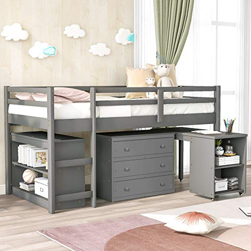 Merax Solid Wood Twin-Size Low Loft Bed Frame with Ladder for Kids Bunk, Cabinet + Desk, Gray